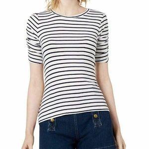 Maison Jules Small White Striped Tee Shirt 3V31